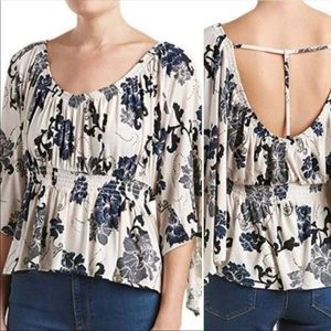 FREE PEOPLE Boho Blouse Floral Frill T Bar Back
